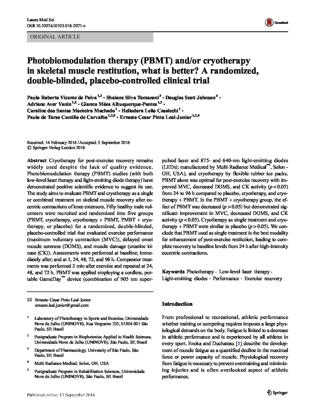 Photobiomodulation therapy (PBMT) and-or cryotherapy in skeletal muscle restitution